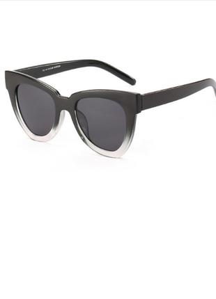 Стильные крупные очки чёрно-прозрачные + фото на лице