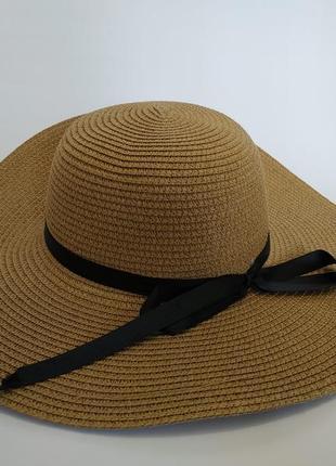 Пляжная летняя шляпа широкополая 12 см соломенная канотье хаки