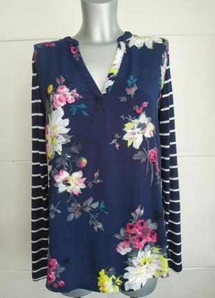Оригинальная кофточка joules из комбинированной ткани с принтом красивых цветов