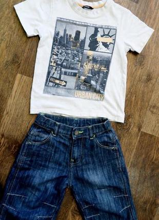 Нарядный летний костюм, футболка и джинсовые шорты