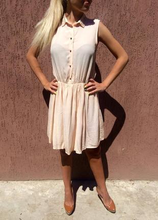 Нежно персиковое платье zara
