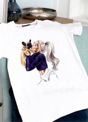 Акция! женская футболка с ярким принтом девушки с собачкой