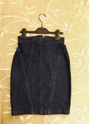 Юбка джинсовая, высокая талия