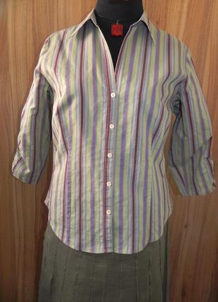 Классная блуза в полоску с рукавом три четверти 52 размера otto kern