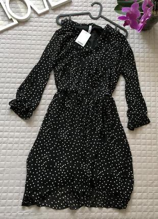 Шикарное лёгкое платье в горох на запах