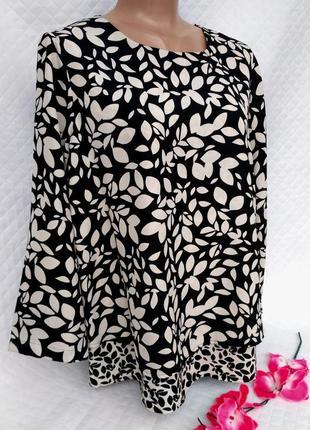 Шикарная блуза свободного кроя в листья размер 14-16(46-48)
