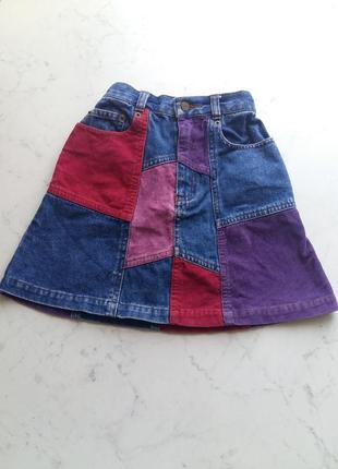 Джинсовая  юбка трапеция jigsaw  junior с микровельветовыми латками на 6-7 лет