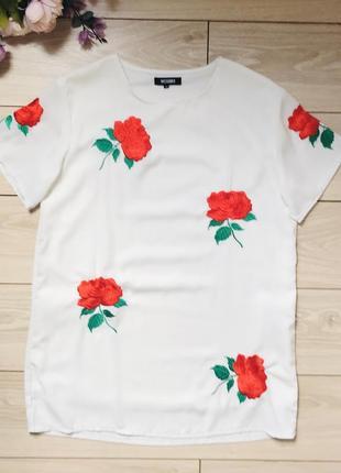 Платье свободного кроя платье футболка с вышивкой розы missguided m-l