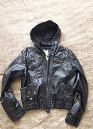 Натуральная кожаная куртка кожанка с капюшоном lucid