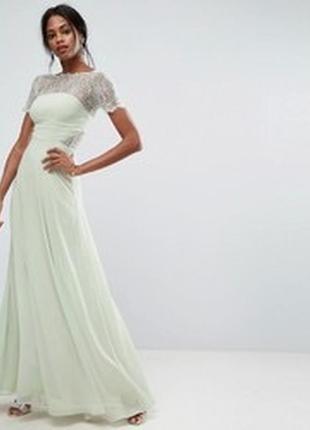 Платье в пол шифоновое с кружевом asos, длинное выпускное платье
