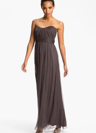 Amsale оригинал длинное вечернее свадебное шелковое платье р.14