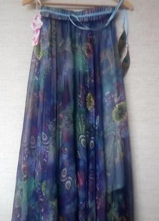 Легкая шифоновая юбка  макси солнце-клеш с перьями павлина 46-48р.