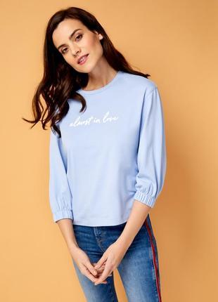 Голубой джемпер толстовка свитер свитшот худи футболка с длинным рукавом ostin