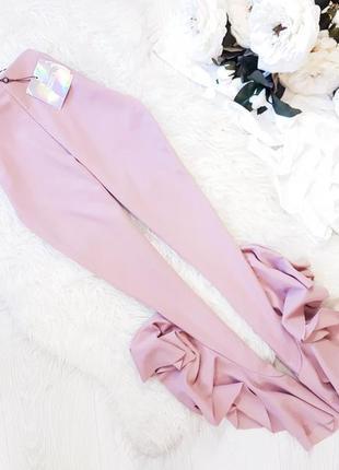 Роскошные лиловые стрейчевые брюки с воланами цвета темная пыльная роза missguided 6 xs