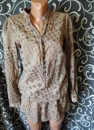 Натуральная весенняя блуза туника