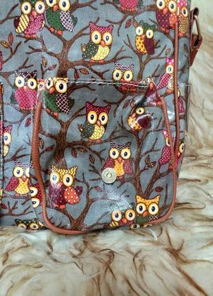 Сумка портфель с плечевым ремнём в принт совы4 фото