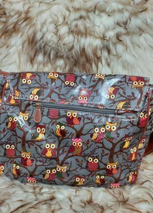 Сумка портфель с плечевым ремнём в принт совы7 фото