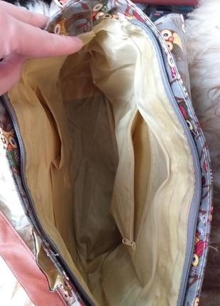 Сумка портфель с плечевым ремнём в принт совы8 фото