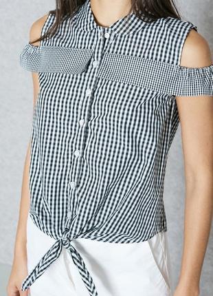 Блуза топ блузка рубашка в мелкую клетку с завязкой рюшами mango1