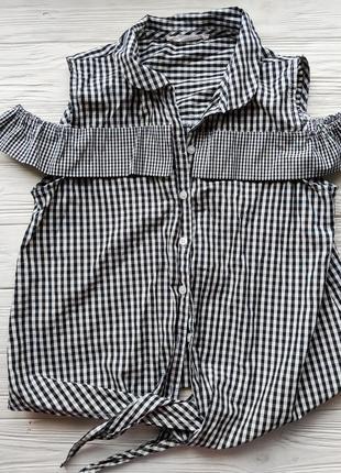 Блуза топ блузка рубашка в мелкую клетку с завязкой рюшами mango4
