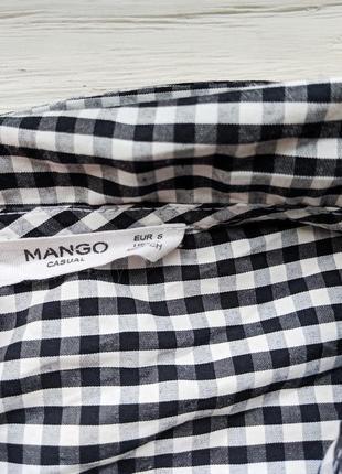 Блуза топ блузка рубашка в мелкую клетку с завязкой рюшами mango5
