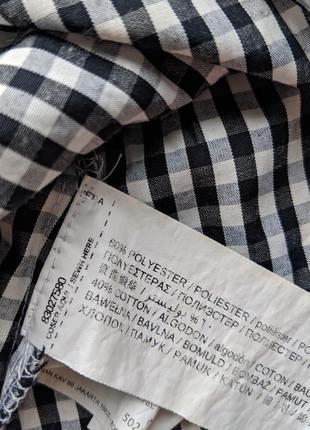 Блуза топ блузка рубашка в мелкую клетку с завязкой рюшами mango6