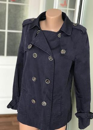 Женский синий плащ пальто тренч