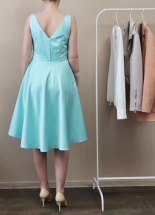 Елегантна сатинова міді сукня / нарядное коктейльное миди платье на выпускной / свадьбу