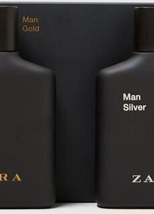 Zara man silver / men gold set 100ml 100ml подарочный набор-оригинал