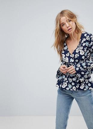 Акция! 1+1=3 цветочная блузка на запах с широкими рукавамиinfluence