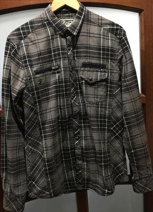Рубашка,рубашка в клетку,рубашка на кнопках,рубашка с латками