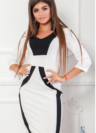 Стильное офисное платье nobilitas бело -черный креп - дайвинг (арт. 18030)