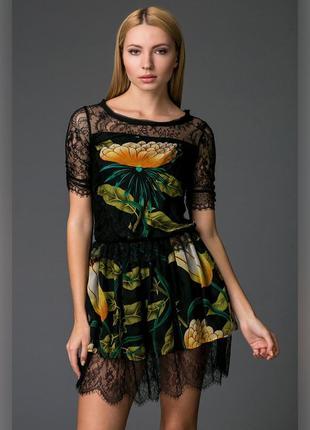 Роскошное воздушное платье в цветочный принт! шёлк+кружево!