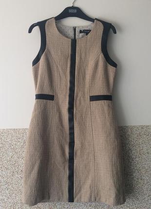 Next  шикарное платье -сарафан  с кожаной окантовкой  р.10