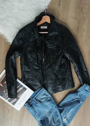 Черная кожанка, куртка эко кожа