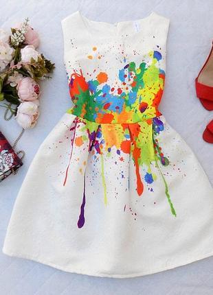 Красивое жаккардовое платье, размер 10 (см. замеры)