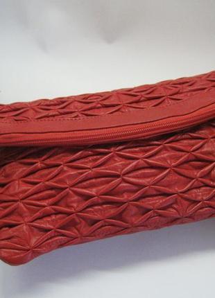 Красная кожаная сумка  под мышку,  клатч, натуральная кожа