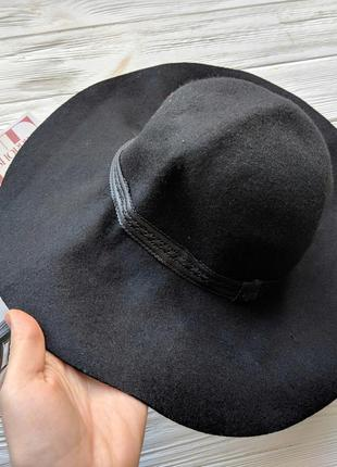 Черная фетровая шляпа шляпка с широкими полями2