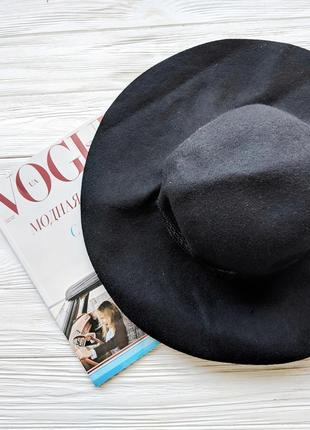 Черная фетровая шляпа шляпка с широкими полями3