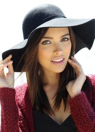 Черная фетровая шляпа шляпка с широкими полями1