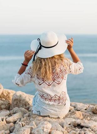 Пляжная туника/платье/накидка/пляжная одежда с хлопковым кружевом!7 фото
