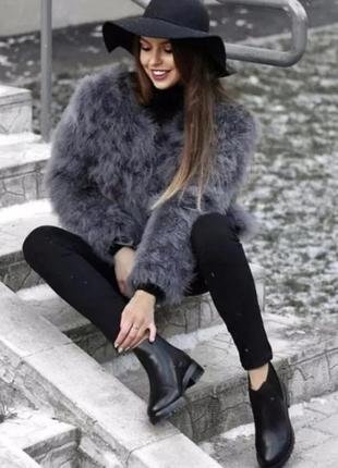 Базовая шуба из страусиного пуха автоледи, шубка натуральная, как пуховик, как куртка