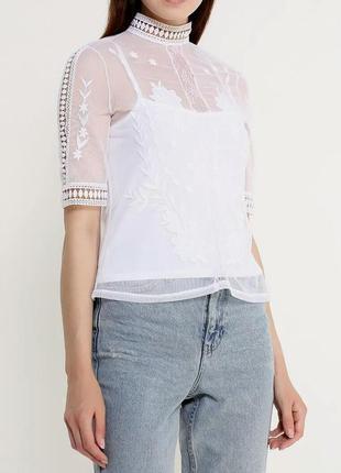 Шикарная сеточная блузка топ с вышивкой и кружевом