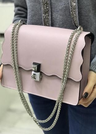 Кожа кожаная сумка на ручке цепочке cross-body сумочка трендовая и стильная кроссбоди
