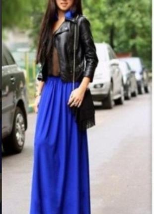 Юбка длинная макси . очень классная юбка в пол цвета электрик