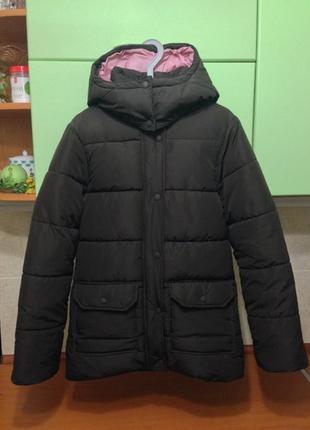 Пуховик коричневый, куртка зима hm