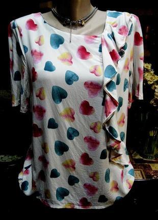 100% вискоза нежная блузка в сердечки