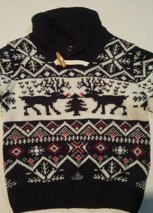 Свитер пуловер зимний с оленями теплый на 3-4 года