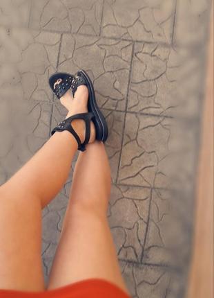 Кожаные босоножки!!! камни бусины туфли шлепки подошва танкетка с блеском глиттер