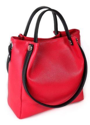 Красная сумка шоппер с комбинированными ручками на плечо